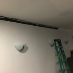 Here is the crown molding removed so we could run new wiring for the projector and 4 new Dolby Atmos speakers.